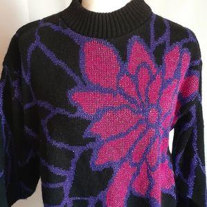 Vintage metallic women's sweater oversized Medium